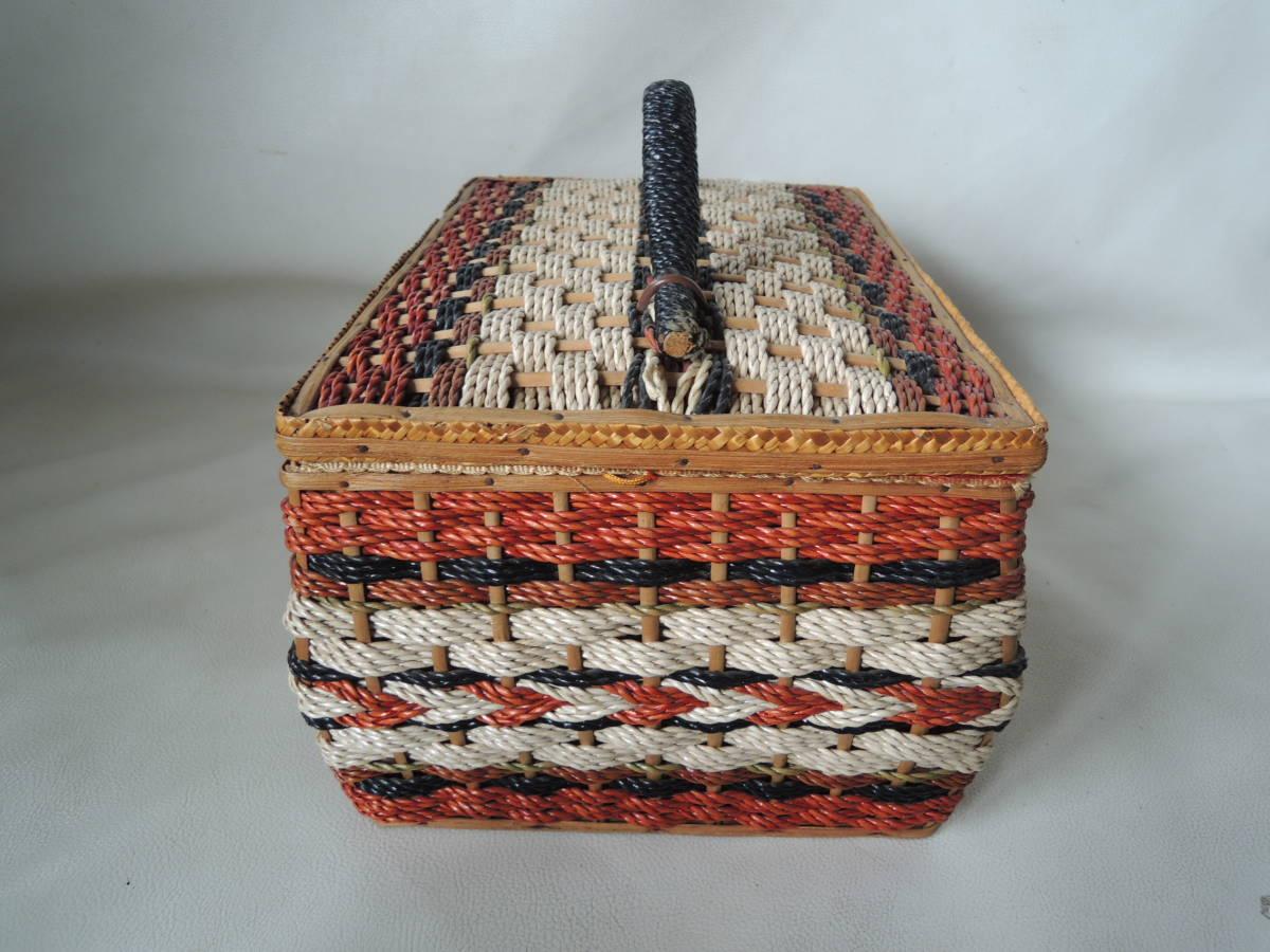 A / 裁縫箱 ソーイングボックス / 裁縫籠 裁縫カゴ 収納箱 / ピクニックバッグ / 昭和レトロ アンティーク / 中古品 5_画像4
