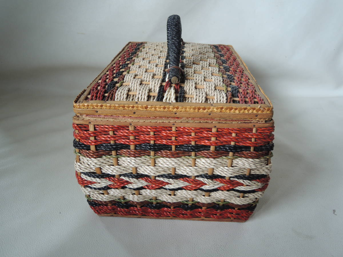 A / 裁縫箱 ソーイングボックス / 裁縫籠 裁縫カゴ 収納箱 / ピクニックバッグ / 昭和レトロ アンティーク / 中古品 5_画像6