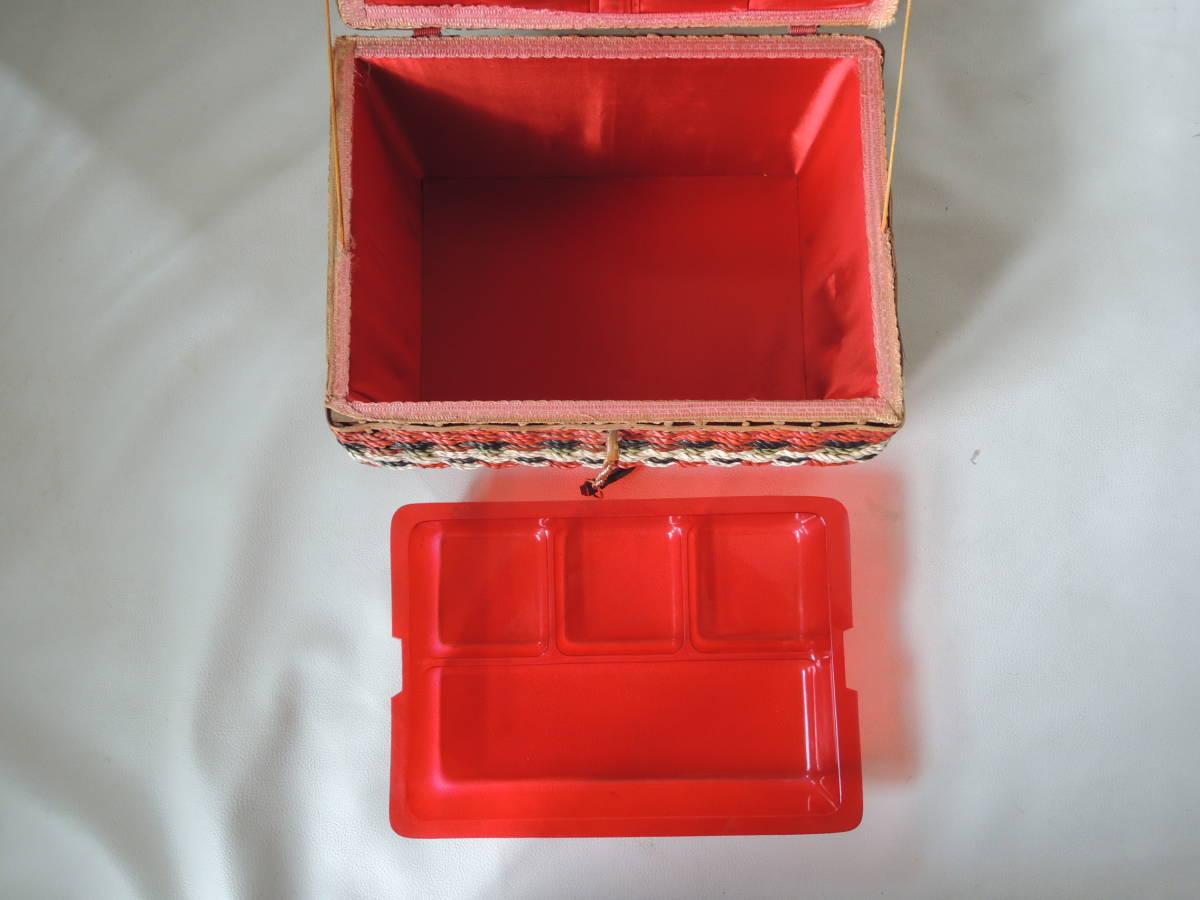 A / 裁縫箱 ソーイングボックス / 裁縫籠 裁縫カゴ 収納箱 / ピクニックバッグ / 昭和レトロ アンティーク / 中古品 5_画像10