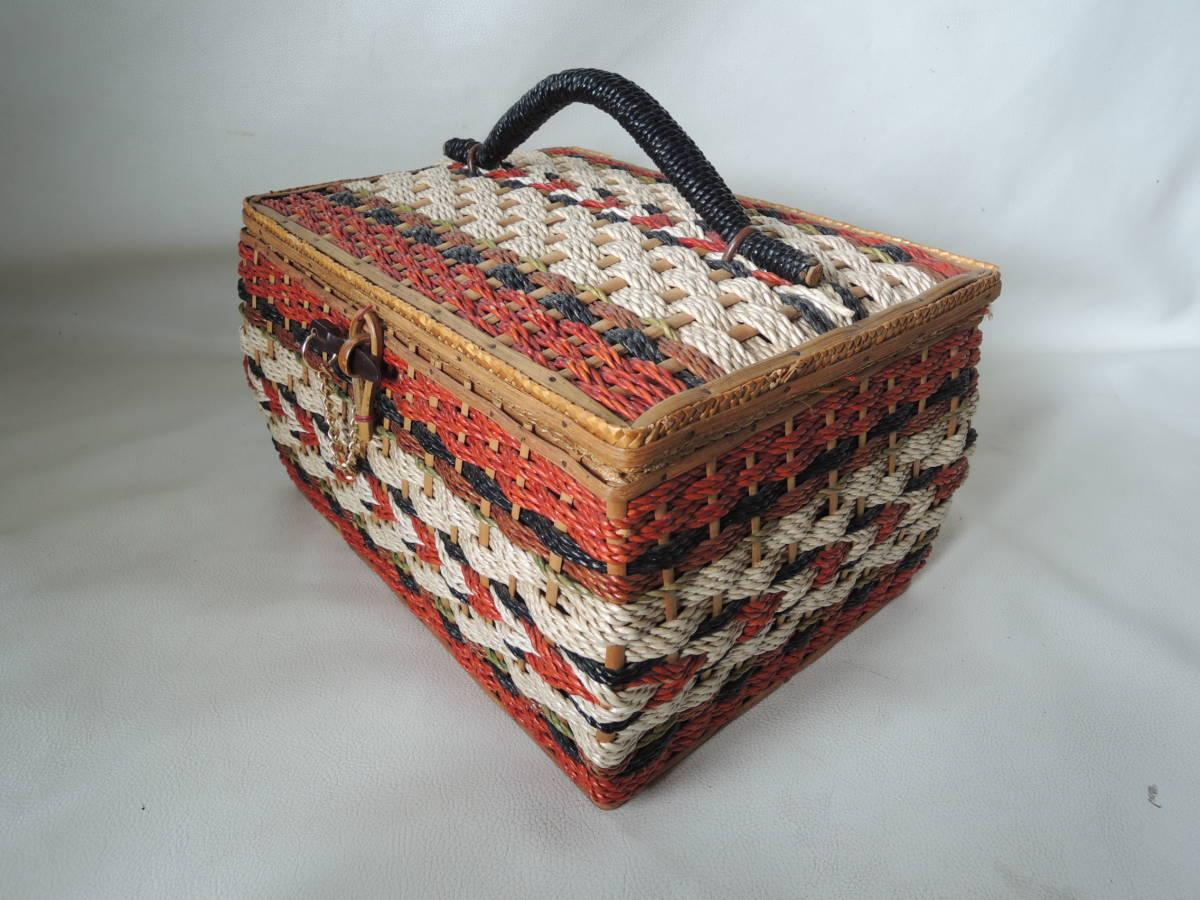 A / 裁縫箱 ソーイングボックス / 裁縫籠 裁縫カゴ 収納箱 / ピクニックバッグ / 昭和レトロ アンティーク / 中古品 5_画像3