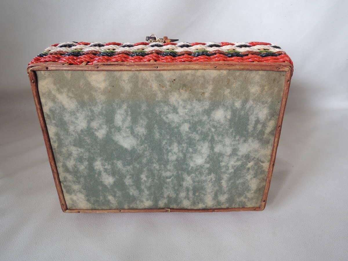 A / 裁縫箱 ソーイングボックス / 裁縫籠 裁縫カゴ 収納箱 / ピクニックバッグ / 昭和レトロ アンティーク / 中古品 5_画像8