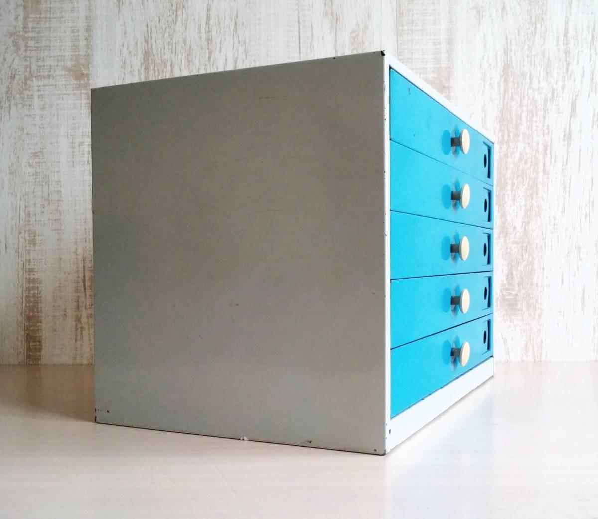 レターケース スチール製 引き出し  収納ケース インダストリアル 工業系 青色 白いつまみ ユーズド_画像5