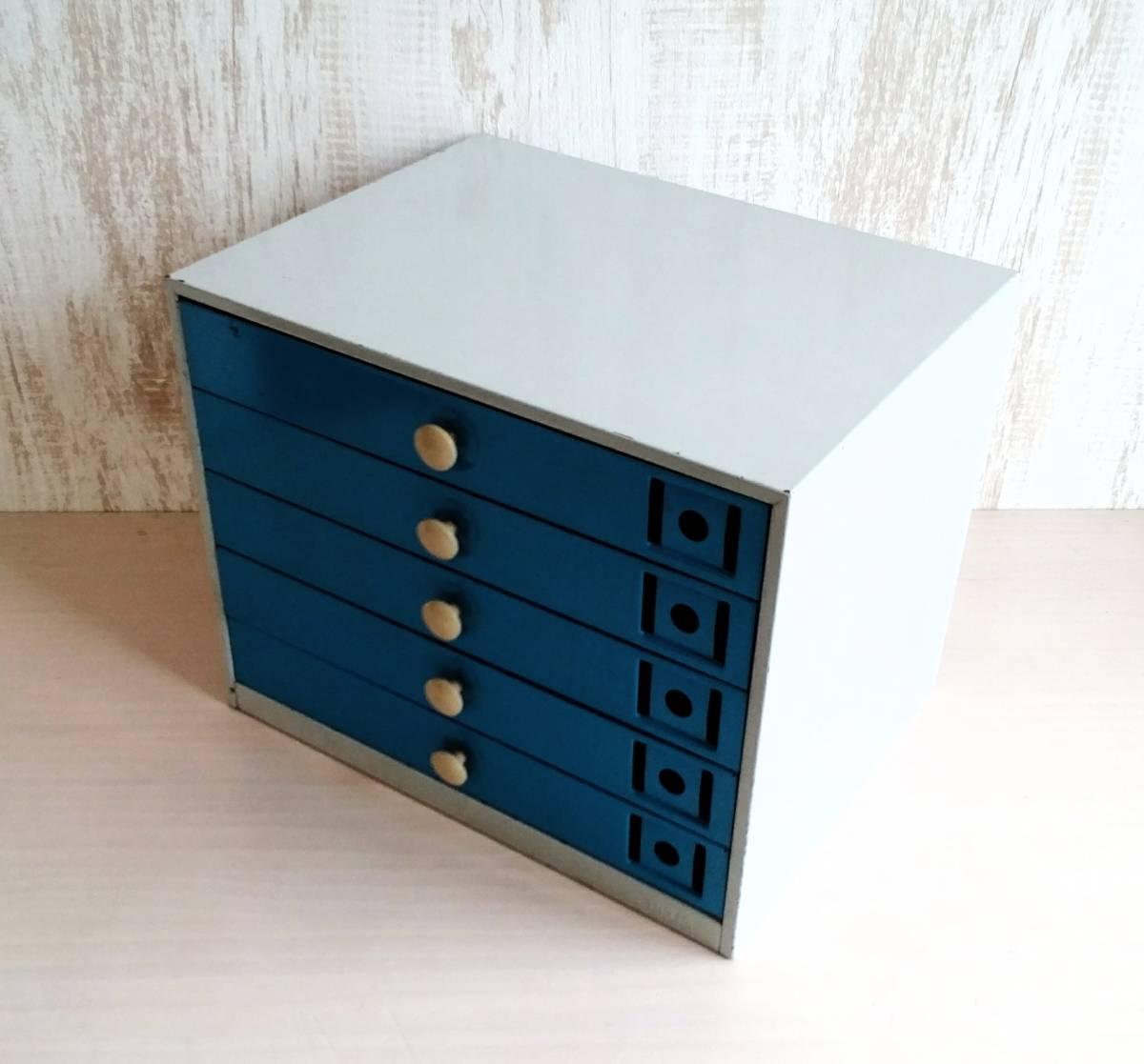 レターケース スチール製 引き出し  収納ケース インダストリアル 工業系 青色 白いつまみ ユーズド_画像6