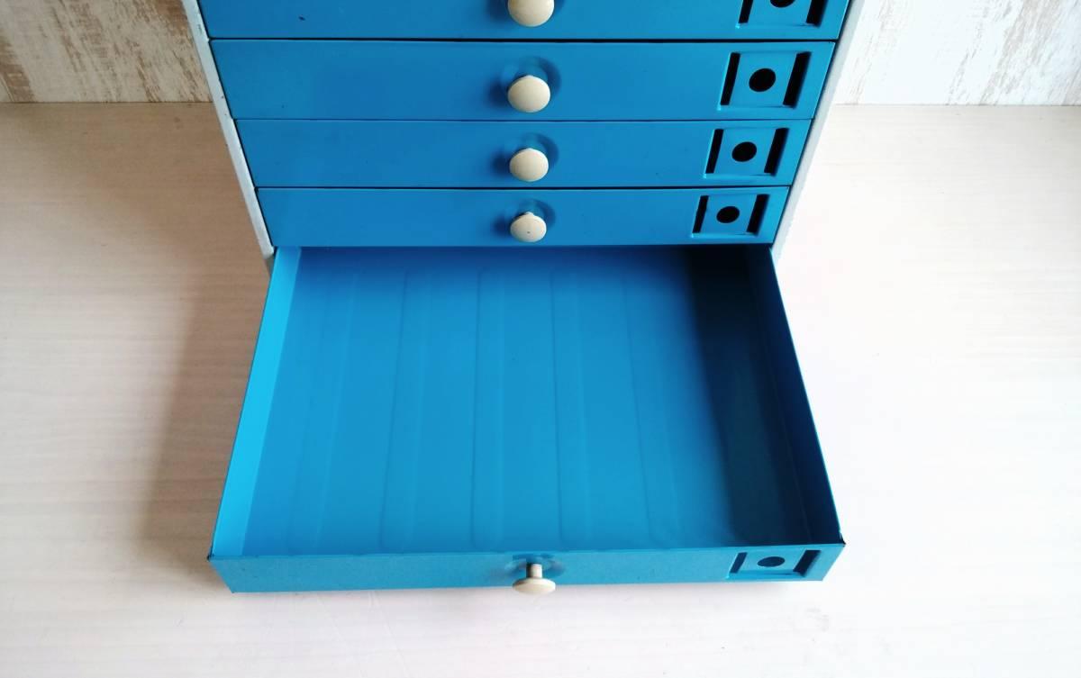 レターケース スチール製 引き出し  収納ケース インダストリアル 工業系 青色 白いつまみ ユーズド_画像7