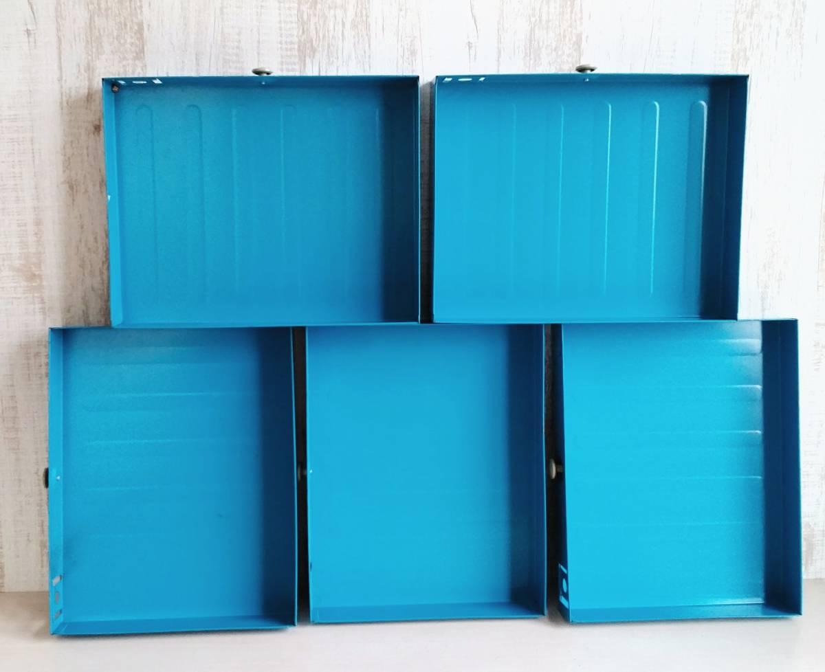 レターケース スチール製 引き出し  収納ケース インダストリアル 工業系 青色 白いつまみ ユーズド_画像8