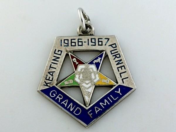 ビンテージ シルバー製 フリーメイソン 1966 1967 GRAND FAMILY イースタンスター ペンタゴン ペンダント トップ ネックレス チャーム_画像1