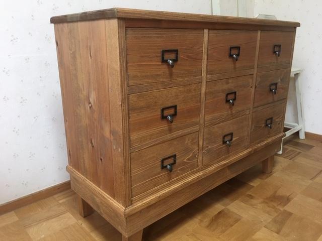 ハンドメイド家具 アンティーク風 シェルフ w90 カフェ ネームプレート