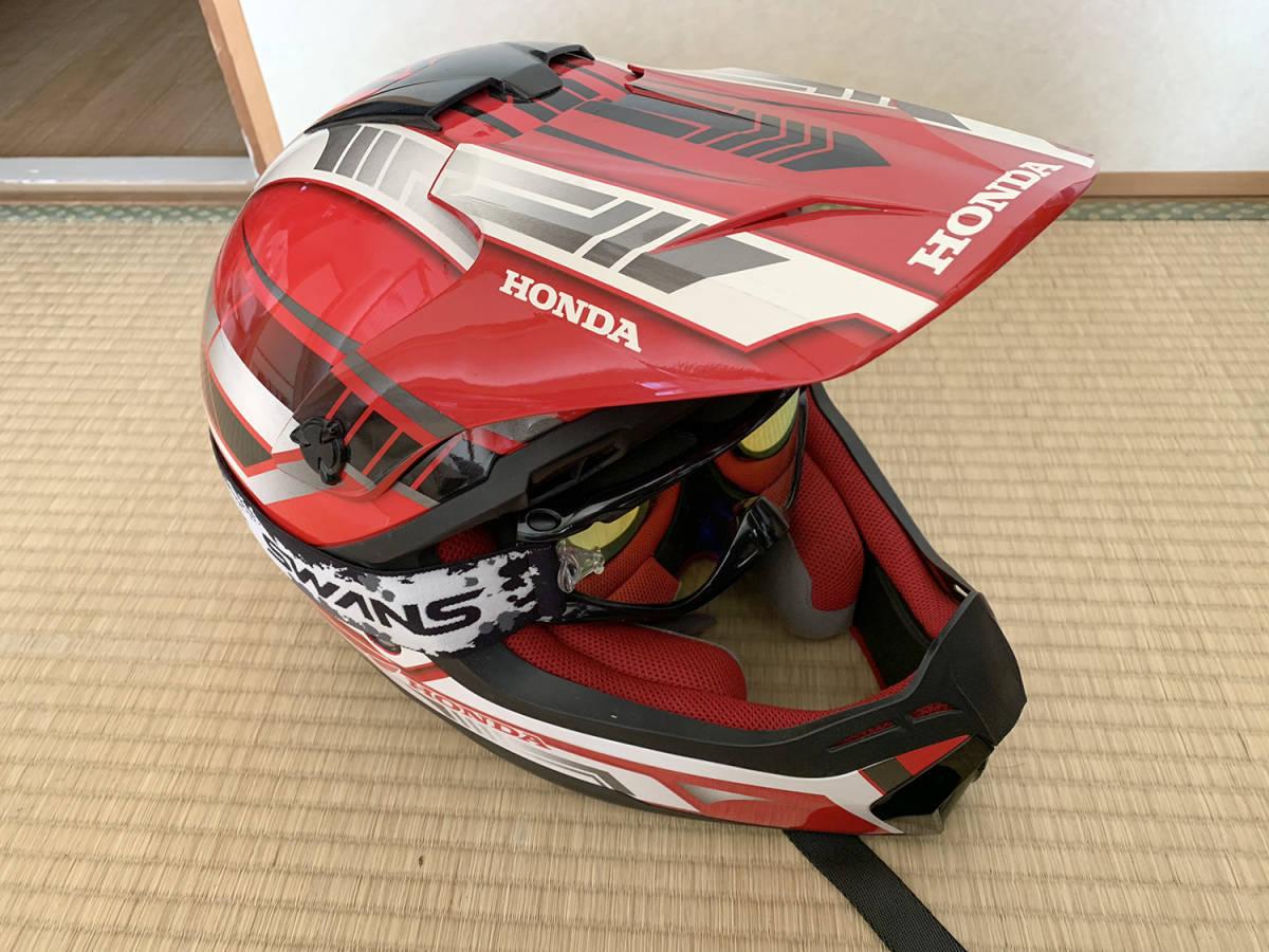 HONDA製 オフロード用ヘルメット SWANSミラーゴーグル付き Lサイズ_画像2