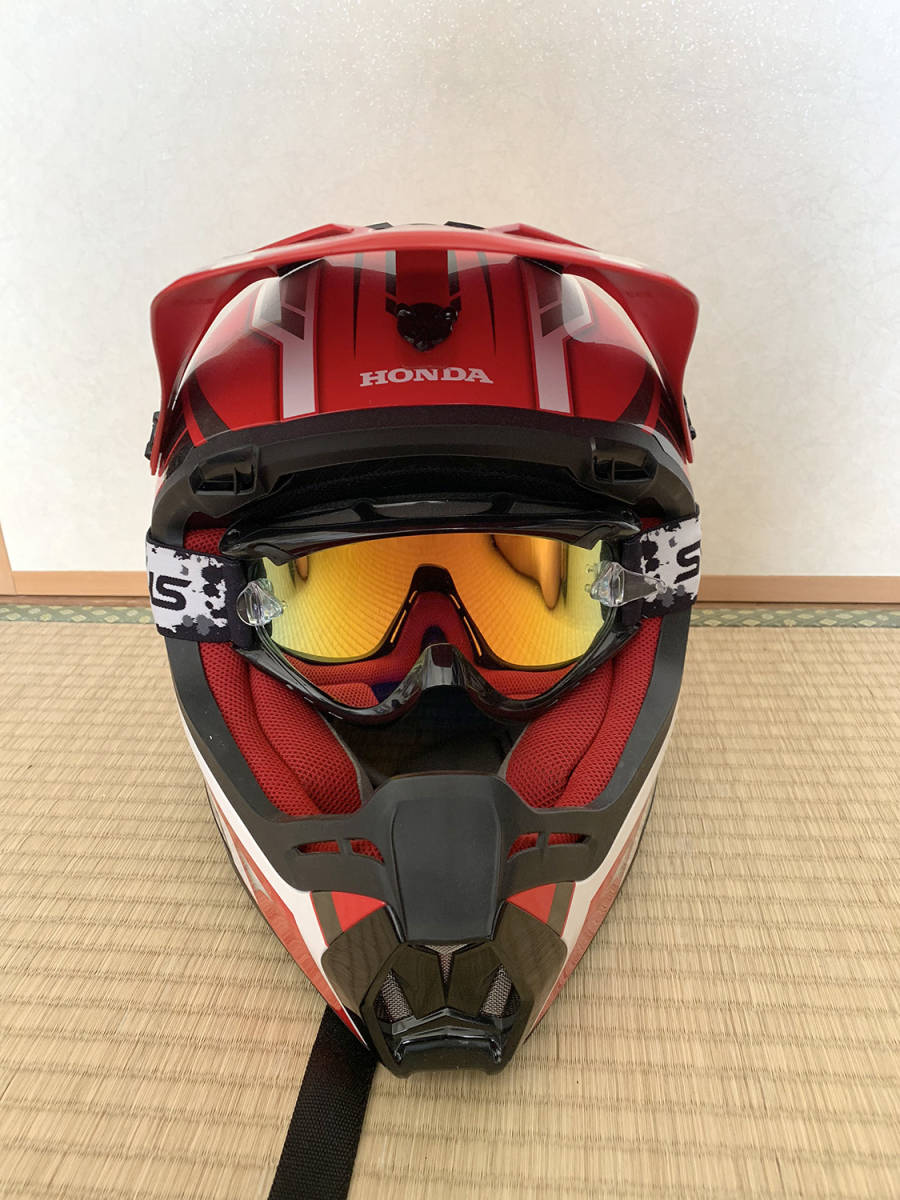 HONDA製 オフロード用ヘルメット SWANSミラーゴーグル付き Lサイズ