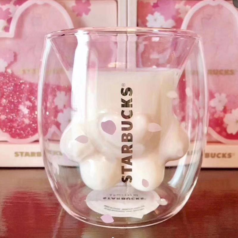 Starbucks 猫の手 ガラスコップ スタバ グラス 桜 海外限定!二つ入り3_画像2
