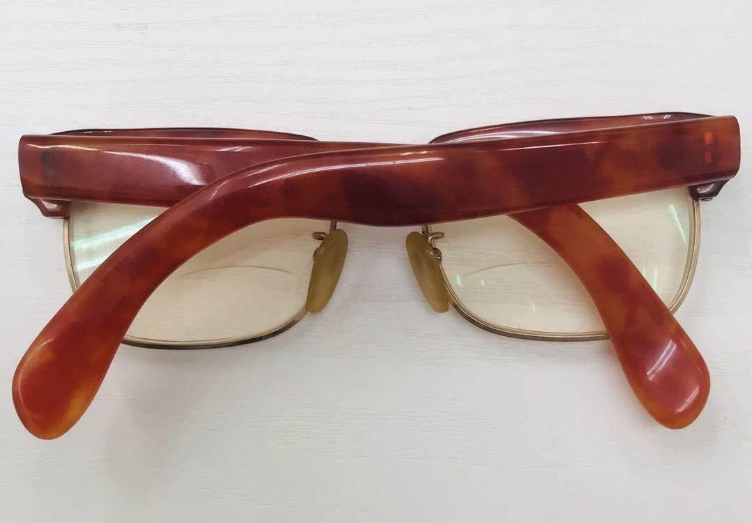 1円【アンティーク】べっ甲 メガネ 鼈甲 眼鏡 フレーム 重量50.7g_画像4