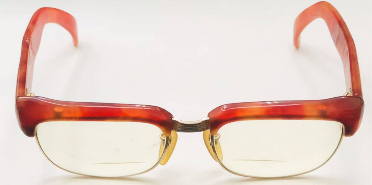 1円【アンティーク】べっ甲 メガネ 鼈甲 眼鏡 フレーム 重量50.7g