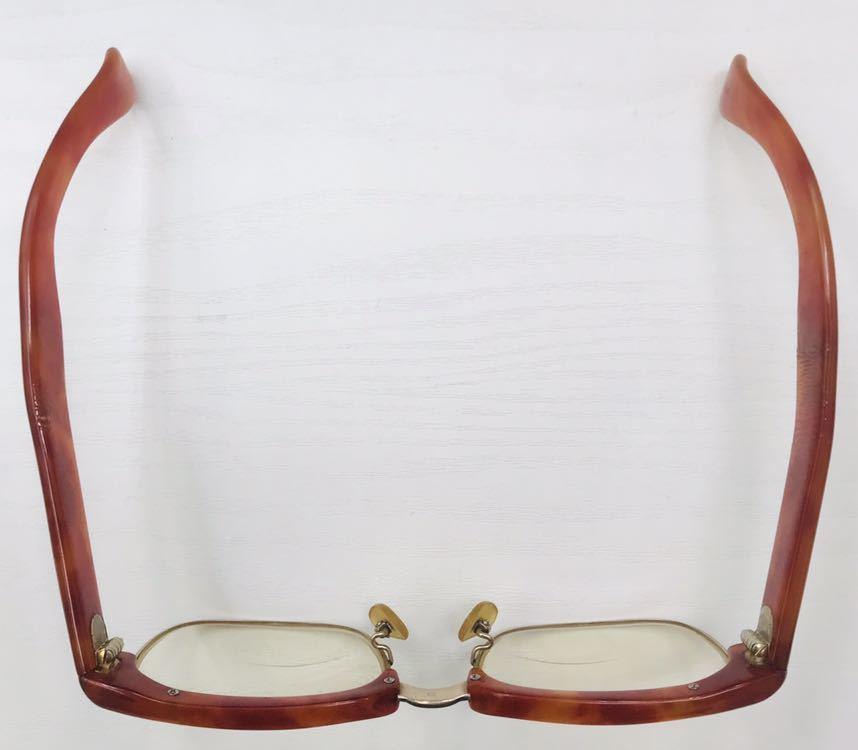 1円【アンティーク】べっ甲 メガネ 鼈甲 眼鏡 フレーム 重量50.7g_画像2
