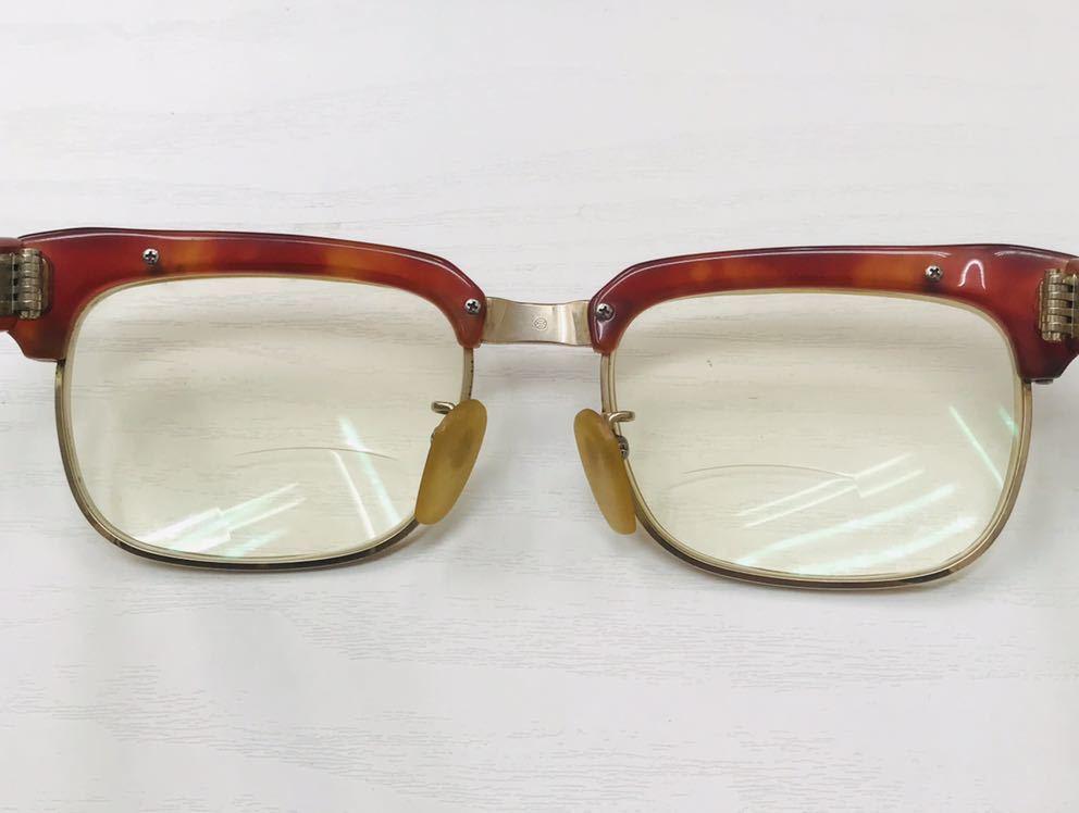 1円【アンティーク】べっ甲 メガネ 鼈甲 眼鏡 フレーム 重量50.7g_画像5