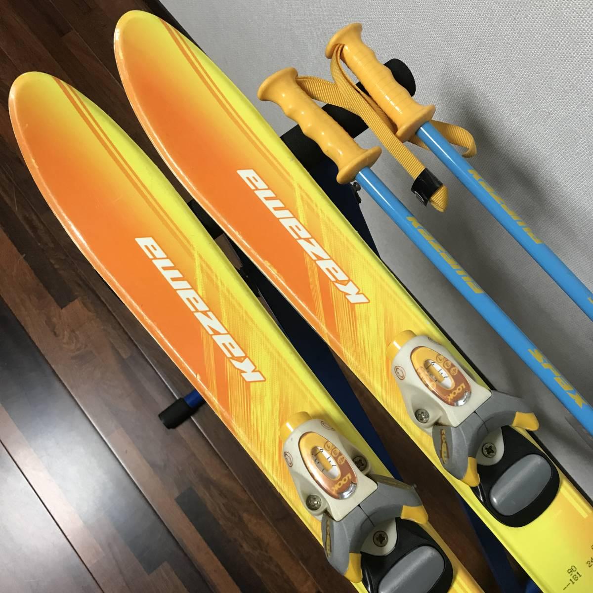 ジュニアスキーセット◆ケース付 KAZAMA 90cm ブーツ 17-18cm ポール 70cm キッズ 子供 ジュニア _画像3