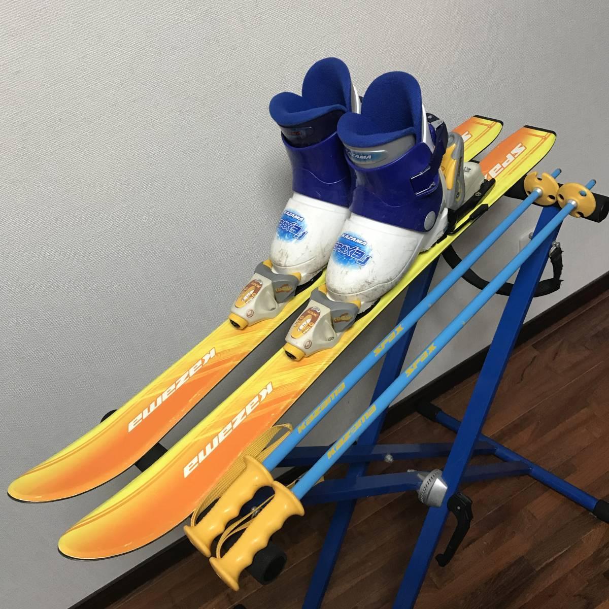 ジュニアスキーセット◆ケース付 KAZAMA 90cm ブーツ 17-18cm ポール 70cm キッズ 子供 ジュニア _画像1