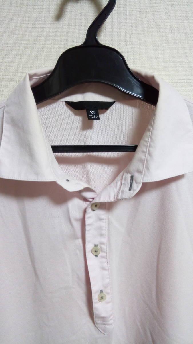 ★XL 訳あり美品 ユニクロ 大きいサイズ(身幅58身丈70)メンズ トップス 半袖ポロシャツ 薄いピンク_画像2