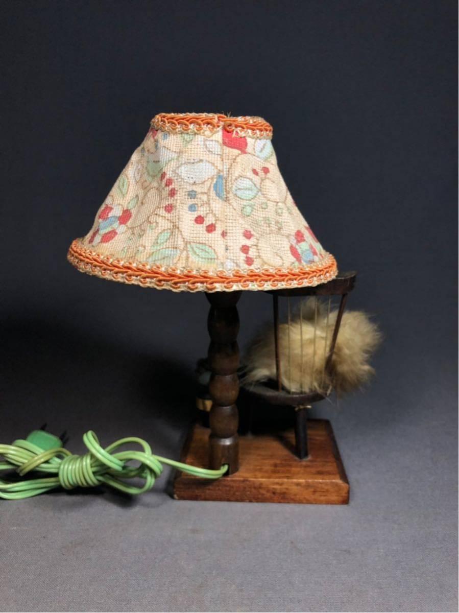 昭和レトロ スタンドライト 卓上ランプ 木製 電笠 電傘 ランプ デスクライト 照明器具 間接照明 インテリア 富士みやげ 人形 当時物_画像5