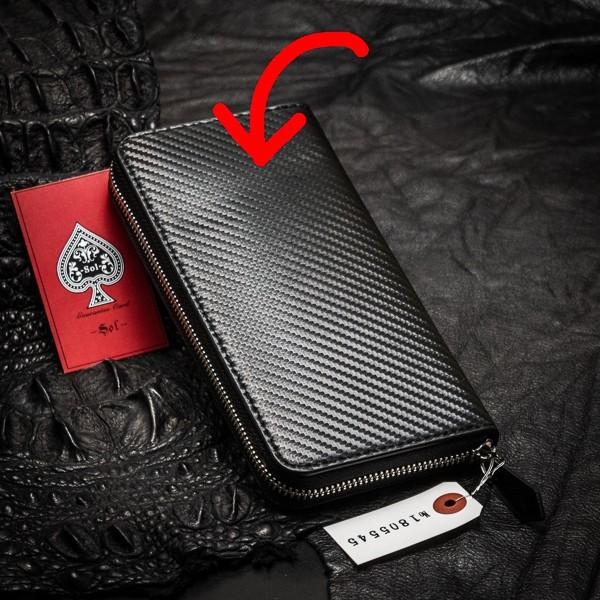 【訳あり:必ず画像でご確認下さい】 新品 未使用 送料無料 本革 レザー メンズ 財布 長財布 ラウンドファスナー カーボン ビジネス 5545