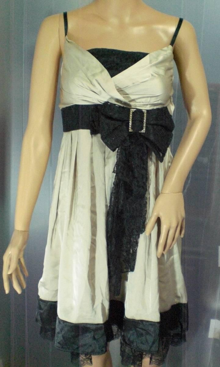 b26bec6d6b60d つるつるサテンシャンパンゴールドドレス ウエストの黒リボンが可愛いスリップタイプのドレス大き目11号 やや使用感あり格安出品です!