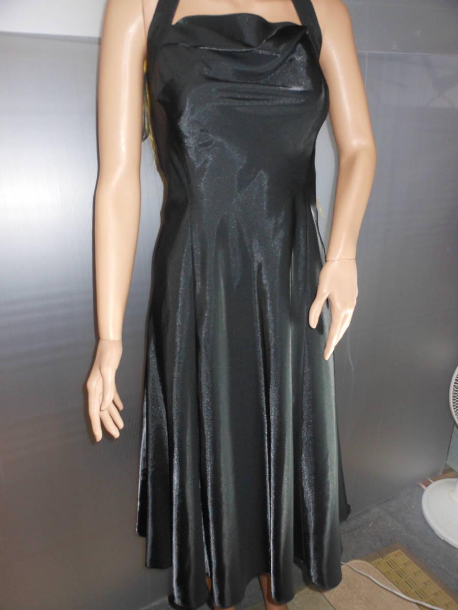 f506d167e8544 代購代標第一品牌- 樂淘letao - 黒つるつるサテン+シフォンのホルターネックのワンピースドレス! 11号サイズコスプレ、パーティー、フェチ様!
