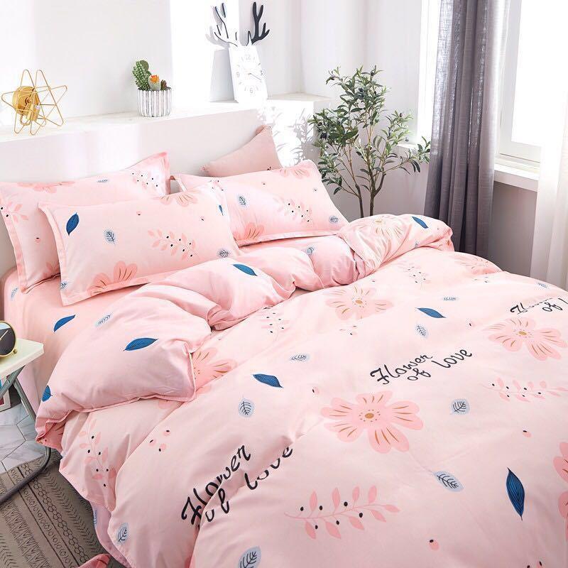 新品 ダブル用 ピンク ベッドカバー 布団カバー シーツ 枕カバー 4点セット 可愛い 花柄