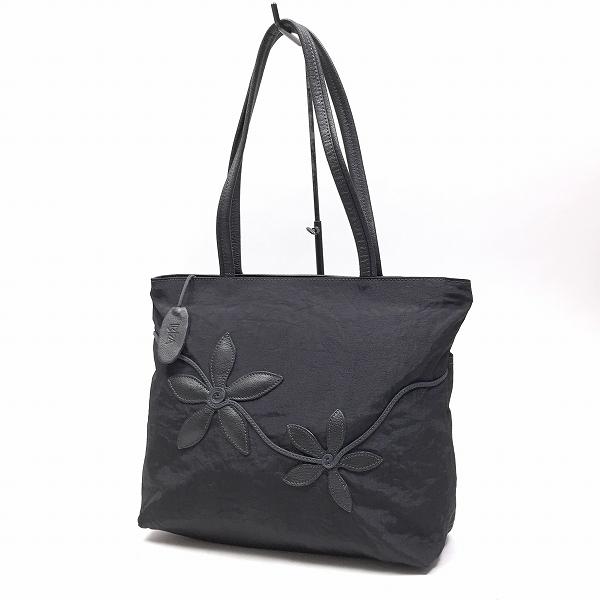○イビザ IBIZA ナイロン トートバッグ ハンドバッグ 花柄 黒ブラック B4-013