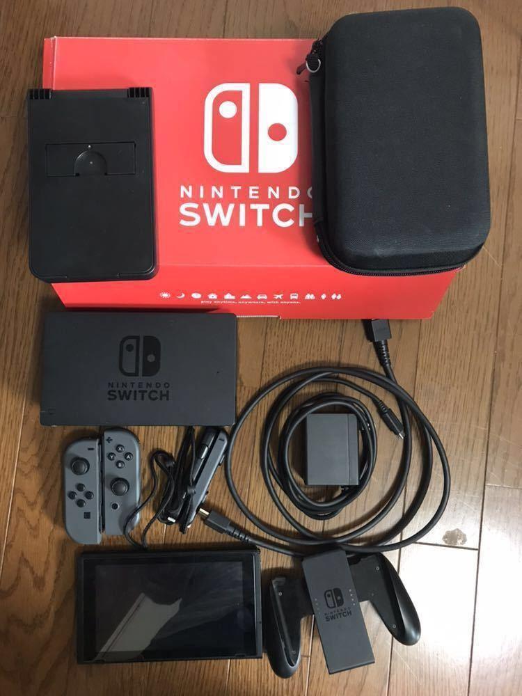 Nintendo Switch 本体 (ニンテンドースイッチ)グレー 中古品 +スタンド・カバー