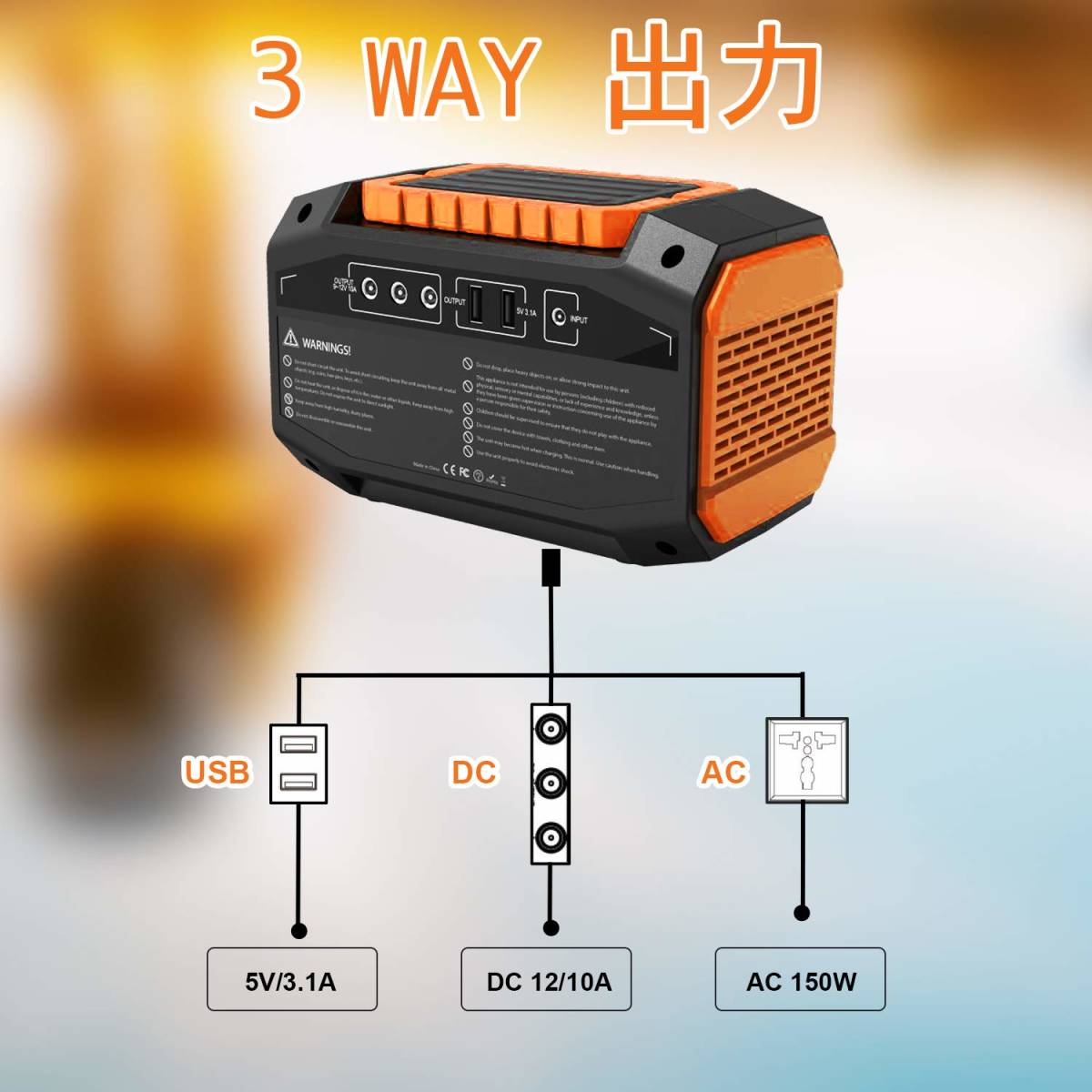 送料無料 Webetop ポータブル電源 167Wh 大容量 AC(150W) DC USB出力 QC3.0急速充電 家庭用蓄電池 充電方法三つ ソーラーパネル充電_画像3