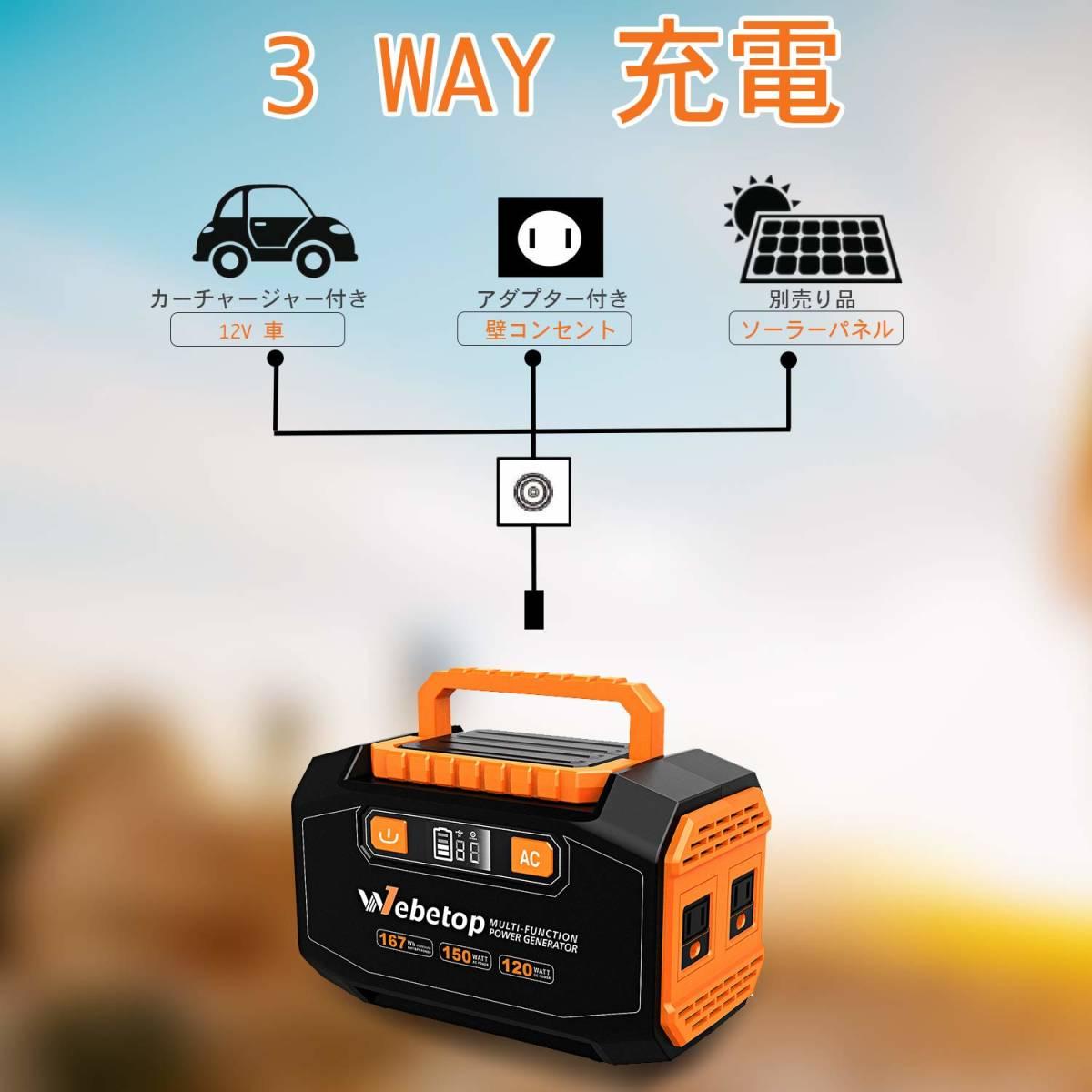 送料無料 Webetop ポータブル電源 167Wh 大容量 AC(150W) DC USB出力 QC3.0急速充電 家庭用蓄電池 充電方法三つ ソーラーパネル充電_画像4