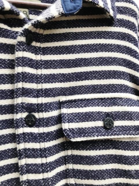 美品 Nigel Cabourn ナイジェルケーボン ウォッシャブルウール ボーダー C.P.Oシャツ ジャケット size 48 日本製 定価 32,400円 8060030081_画像4