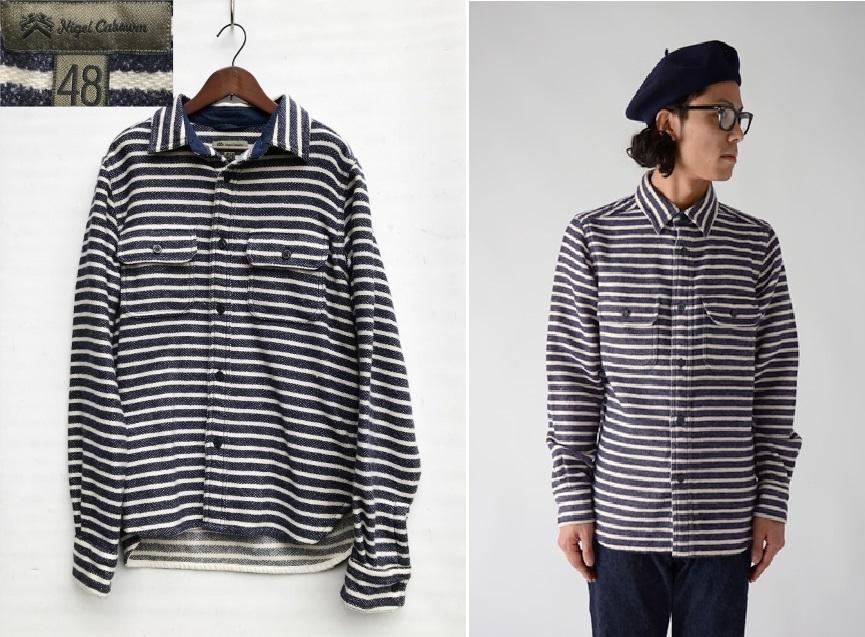 美品 Nigel Cabourn ナイジェルケーボン ウォッシャブルウール ボーダー C.P.Oシャツ ジャケット size 48 日本製 定価 32,400円 8060030081_画像1