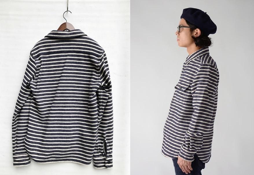 美品 Nigel Cabourn ナイジェルケーボン ウォッシャブルウール ボーダー C.P.Oシャツ ジャケット size 48 日本製 定価 32,400円 8060030081_画像2