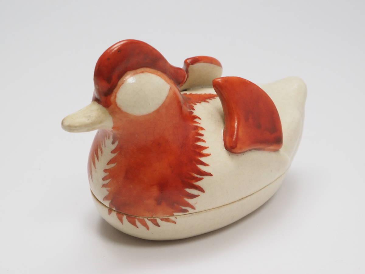 Y0A0052 【 時代物 赤絵 干支 酉 香合 木箱付 無傷 】 検) 茶道具 香道具 茶器 香蓋 合子 陶器 古玩 古い 美術品 鳥 トリ 古美術 p03_画像2