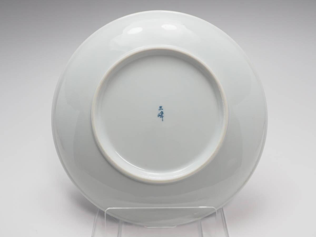 Z0B0103 【 三峰 作 染付 大相撲文 大皿 直22.8cm 紙箱付 】 検) 和食器 皿 盛皿 盛り皿 盛り器 盛器 菓子器 飾り皿 飾皿 在銘 p02_画像6