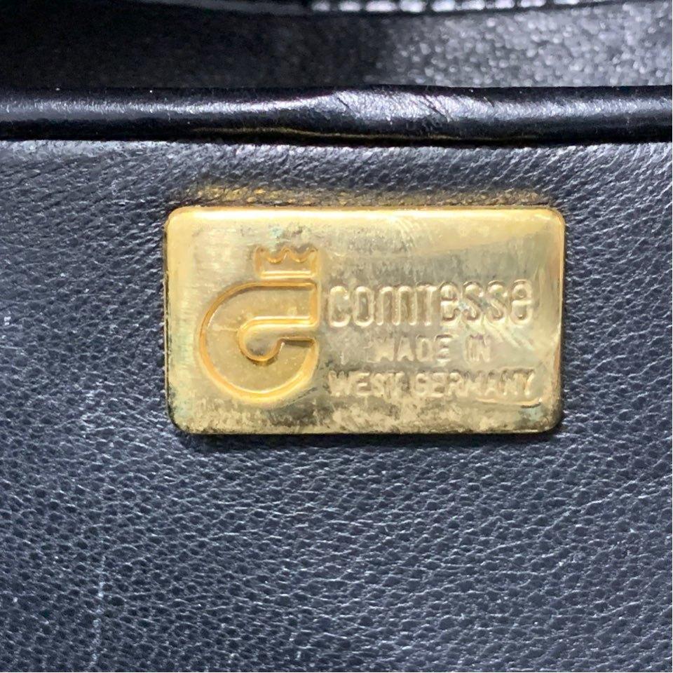 B118M09 COMTESSE/コンテス 本革ホースヘアー レザー クラッチ セカンドバッグ パーティーバッグ ブラック_画像8