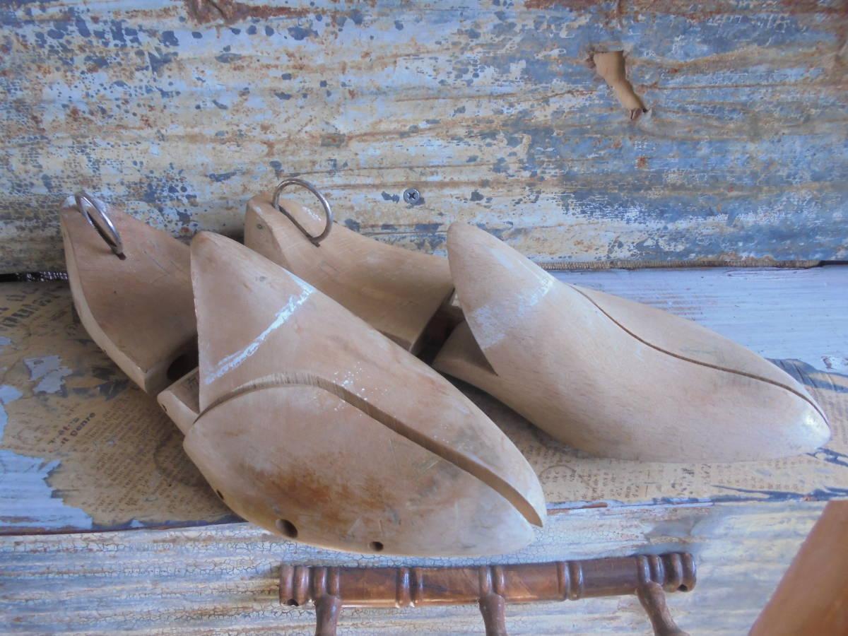 【フランス蚤の市無垢材のシューキーパー】靴型靴職人オールドチークヴィンテージ古着古道具アンティークインテリアインダストリアル骨董 _画像1