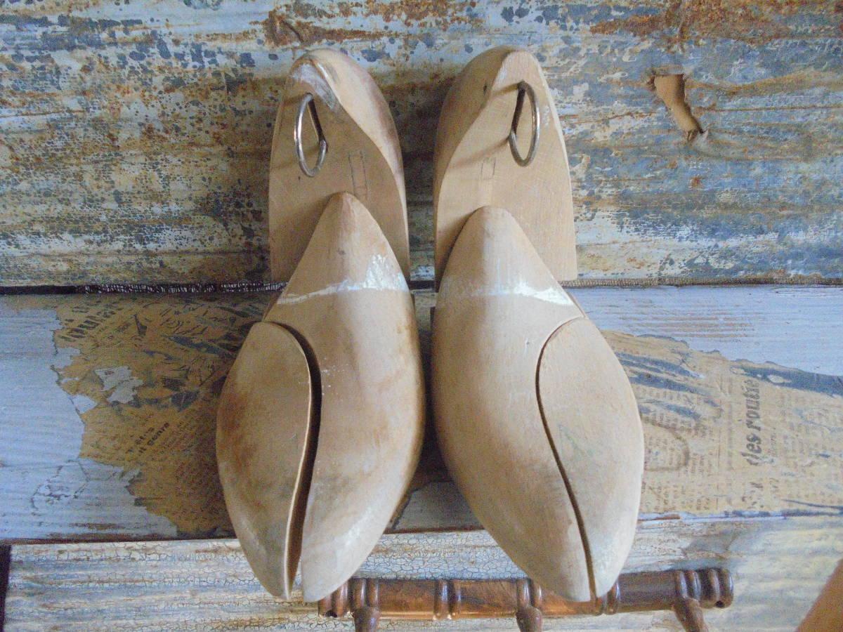 【フランス蚤の市無垢材のシューキーパー】靴型靴職人オールドチークヴィンテージ古着古道具アンティークインテリアインダストリアル骨董 _画像3