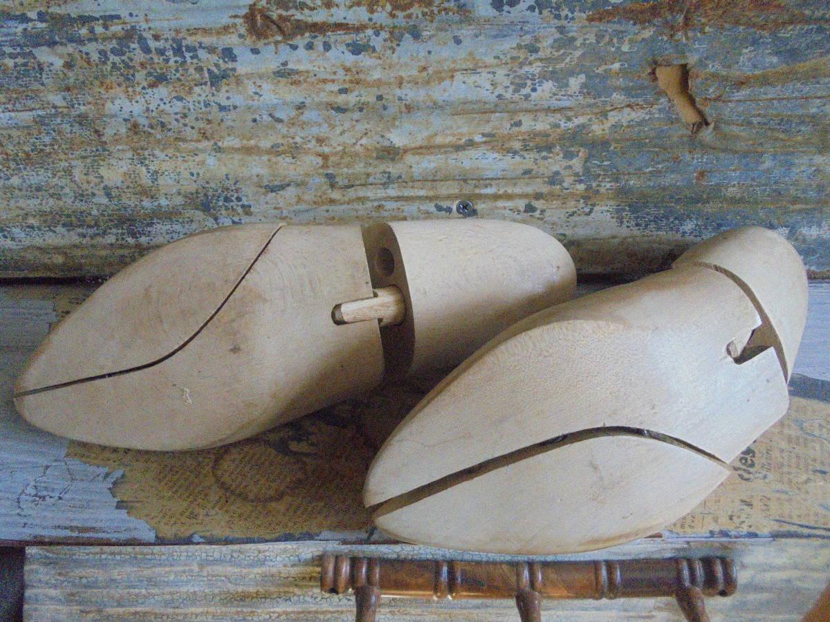 【フランス蚤の市無垢材のシューキーパー】靴型靴職人オールドチークヴィンテージ古着古道具アンティークインテリアインダストリアル骨董 _画像6