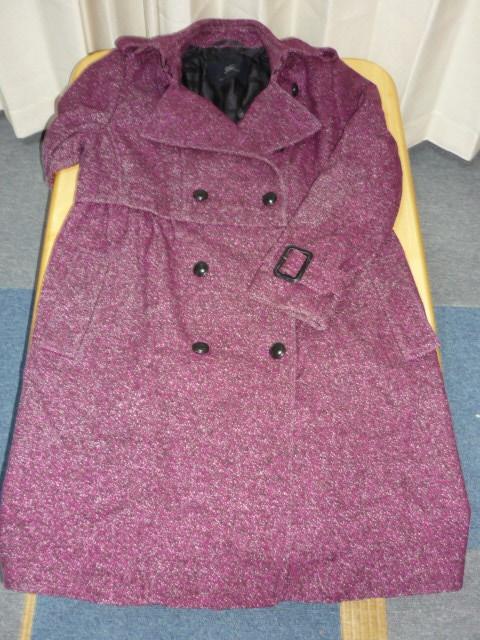 バーバリー■レディース ウールコート■サイズ46 紫_画像4