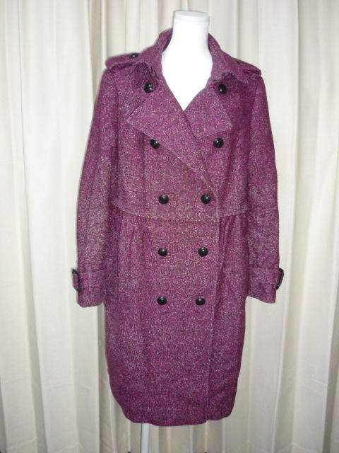 バーバリー■レディース ウールコート■サイズ46 紫