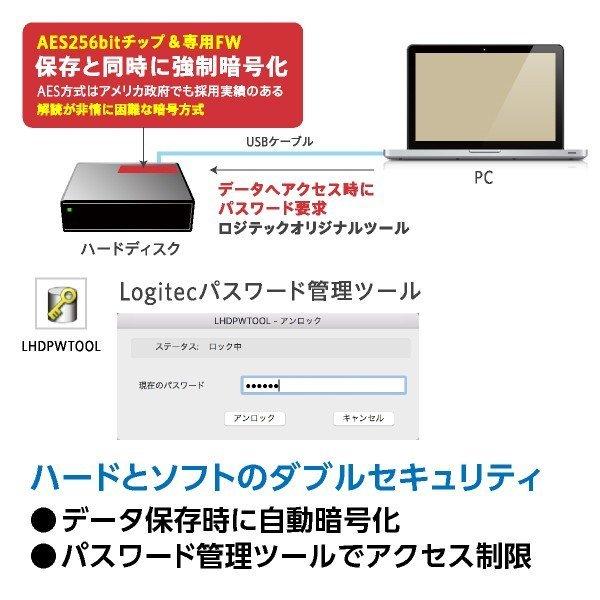新品 ロジテック ■外付けHDD 3TB ハードウェア暗号化ハードディスク セキュリティー Mac用 WD Red搭載 USB3.1(Gen1) ■LHD-EN30U3BSMR_画像5
