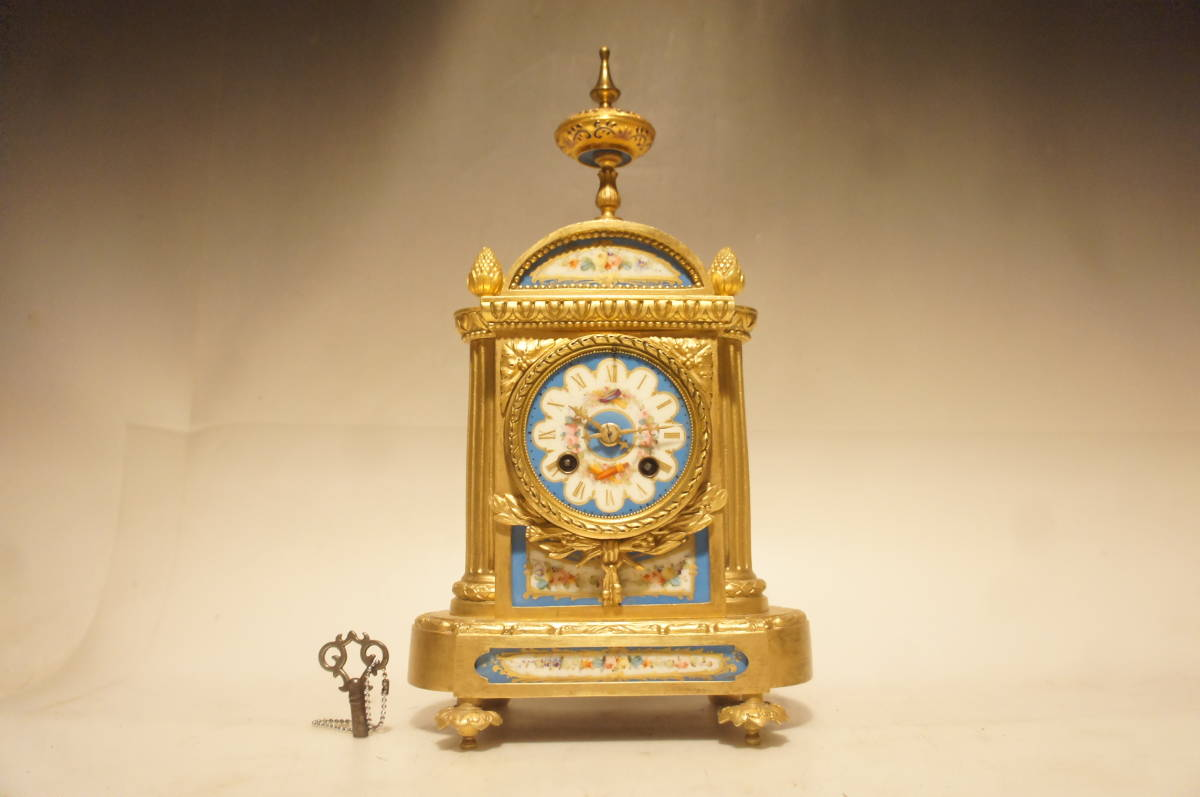 フランス製 ジャッピー 1880年代 手書きオールドセーブル磁器 総オルモルブロンズ装飾  時打ち置き時計  振り子式 手巻き可動品