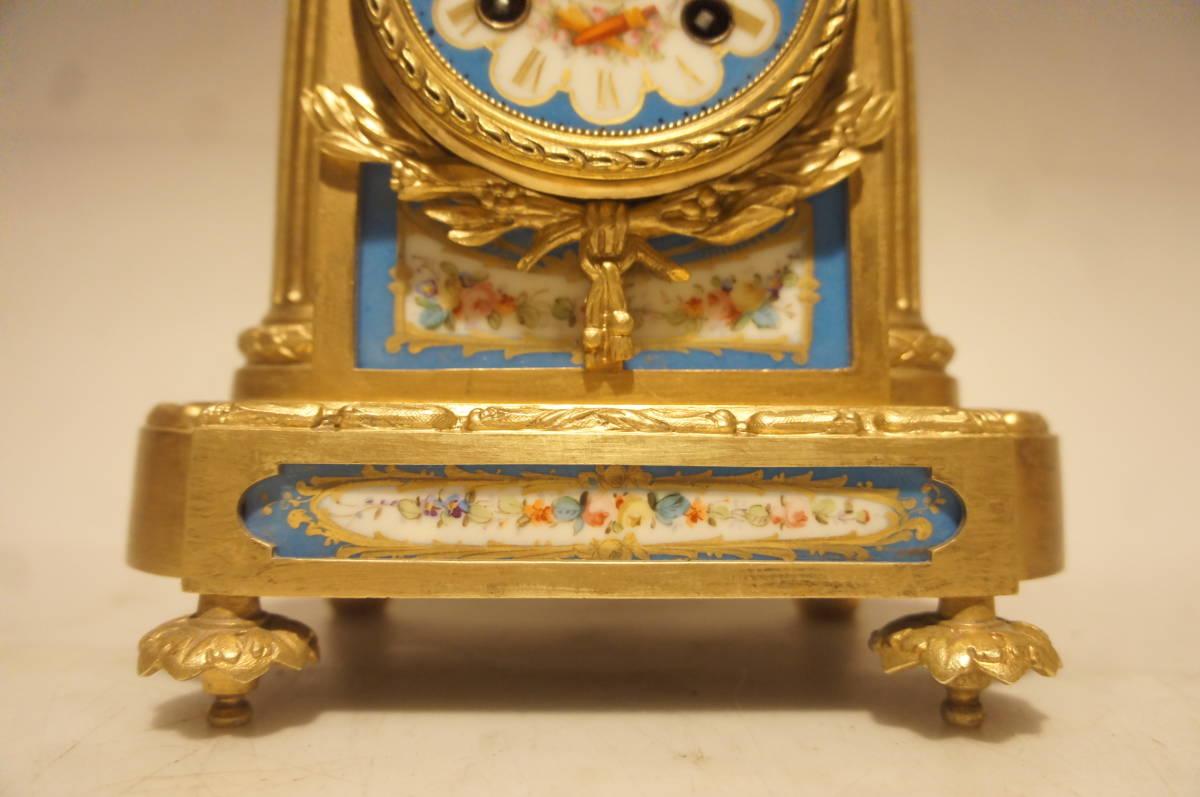フランス製 ジャッピー 1880年代 手書きオールドセーブル磁器 総オルモルブロンズ装飾  時打ち置き時計  振り子式 手巻き可動品_画像2