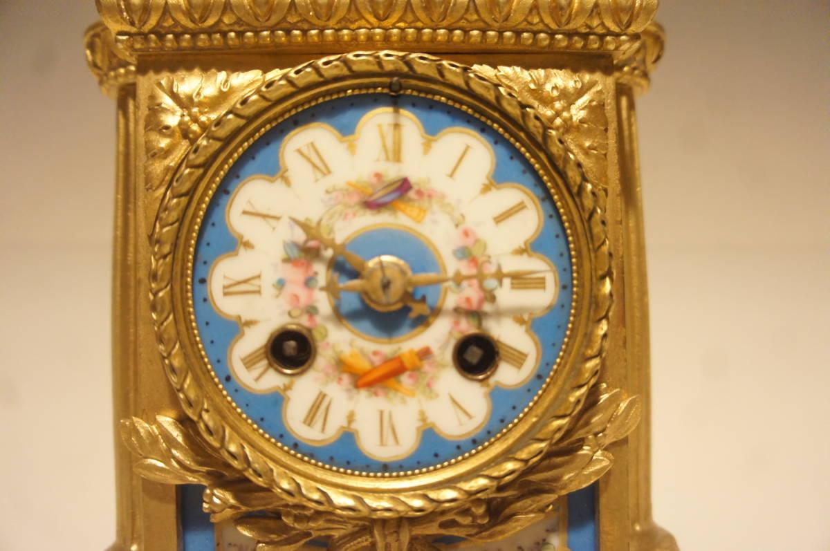 フランス製 ジャッピー 1880年代 手書きオールドセーブル磁器 総オルモルブロンズ装飾  時打ち置き時計  振り子式 手巻き可動品_画像3