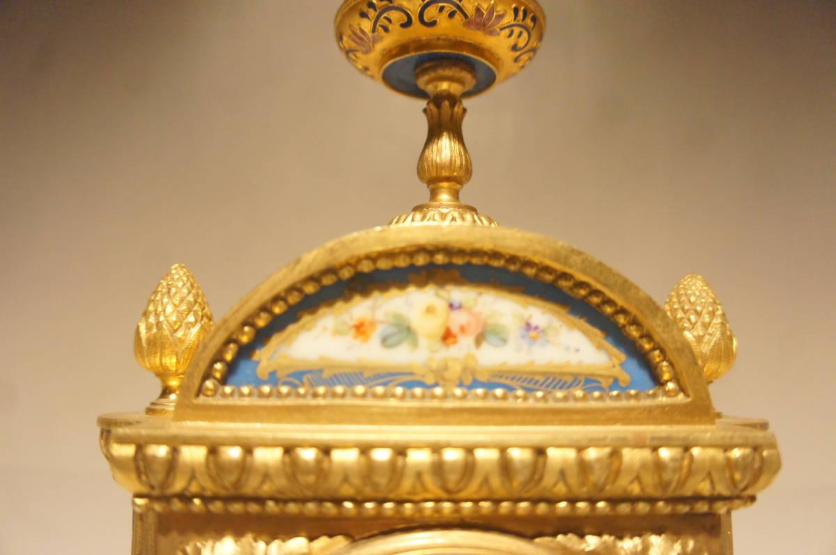 フランス製 ジャッピー 1880年代 手書きオールドセーブル磁器 総オルモルブロンズ装飾  時打ち置き時計  振り子式 手巻き可動品_画像4