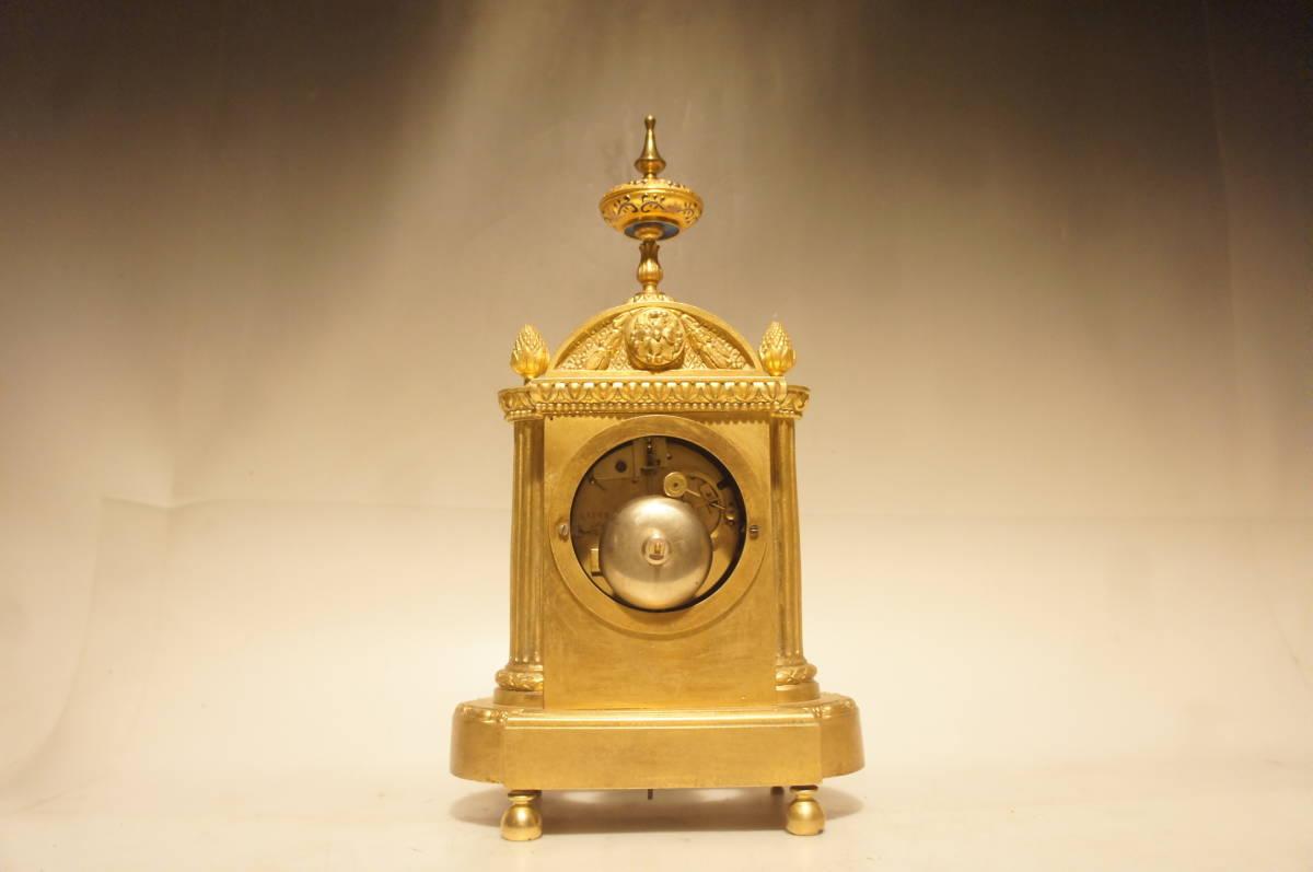 フランス製 ジャッピー 1880年代 手書きオールドセーブル磁器 総オルモルブロンズ装飾  時打ち置き時計  振り子式 手巻き可動品_画像7