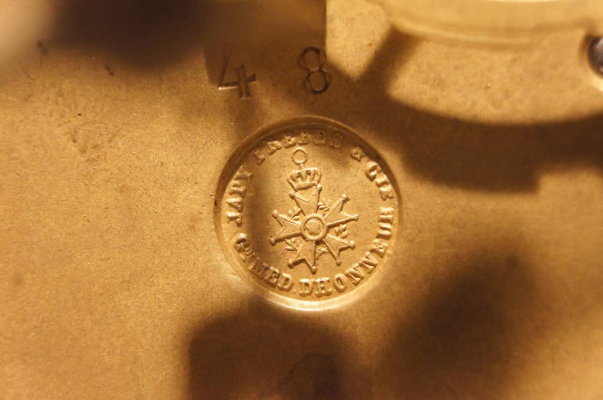フランス製 ジャッピー 1880年代 手書きオールドセーブル磁器 総オルモルブロンズ装飾  時打ち置き時計  振り子式 手巻き可動品_画像9