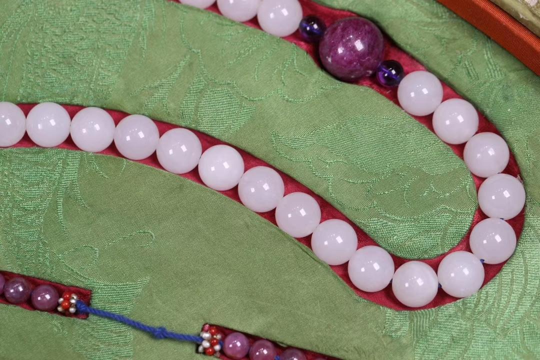 ★一龍堂★『清 宮廷風格 和田玉朝珠一盤 』 仕様:珠径1.3cm,重さ492g ・ 02