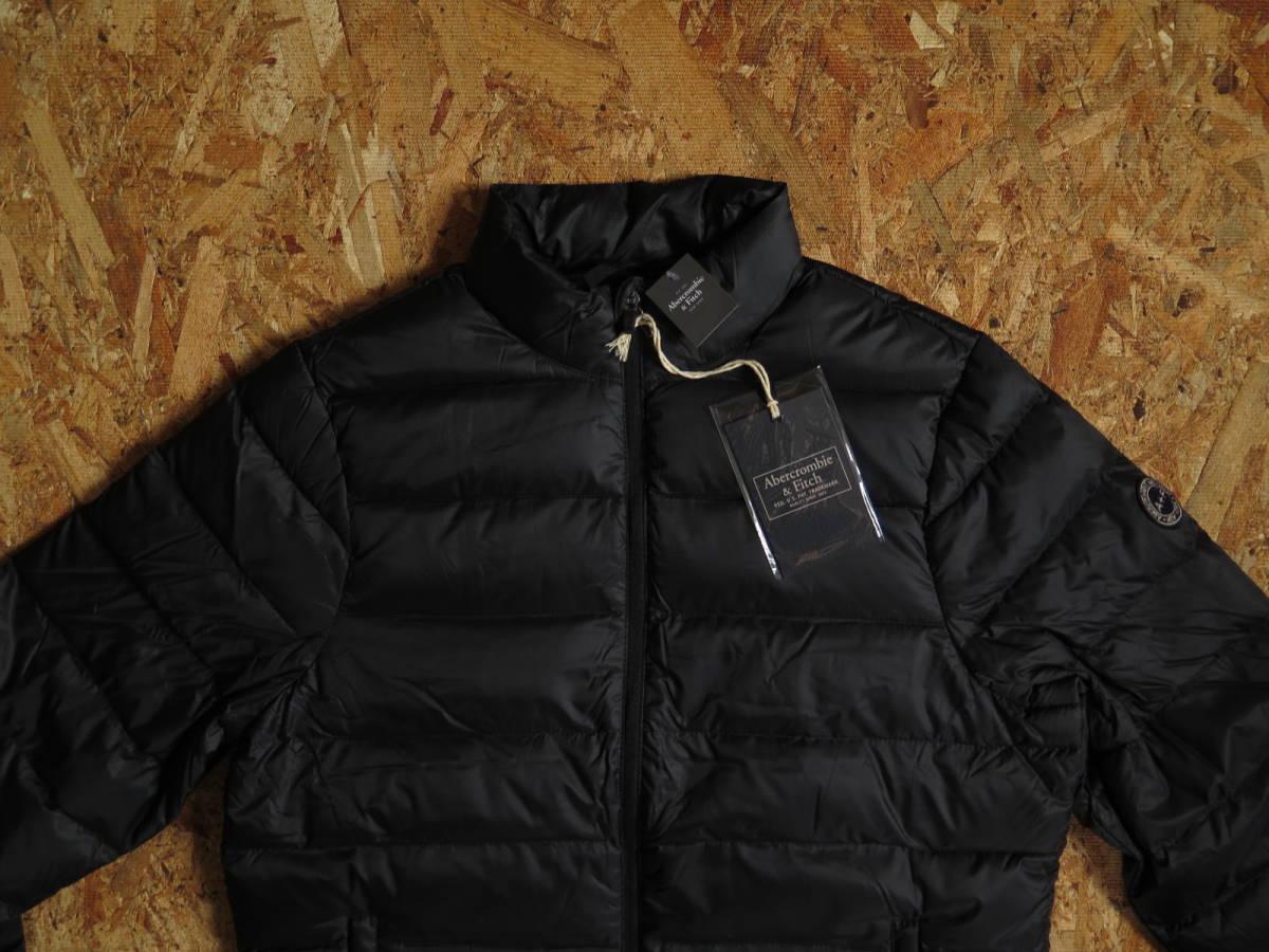 新品☆本物 NY購入 Abercrombie & Fitch Light Weight Down Jacket Mサイズ BLACK/黒 アバクロ ライトウェイト ダウンジャケット
